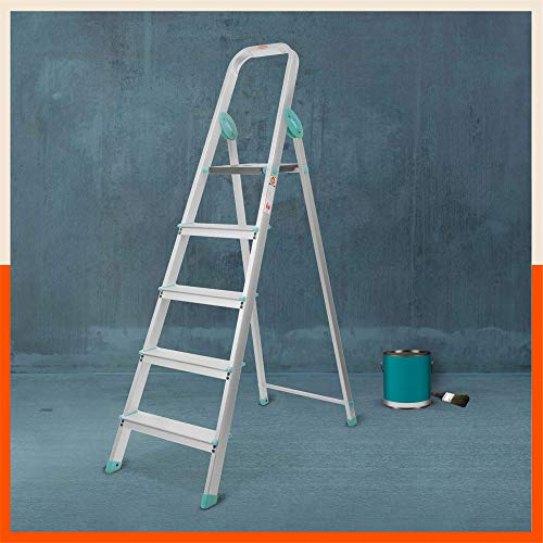Bathla Advance Carbon - 5 Step Foldable Aluminium Ladder with Scratch Resistant Smart Platform and Sure-Hinge Technology (Teal)