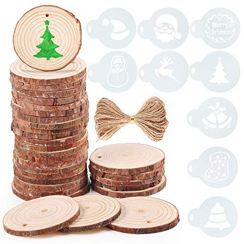 Pllieay 30 pezzi 6-7 cm legno grezzo rotondo fette tronco fette con fori, 10 pezzi stencil con motivi natalizi e spago di iuta naturale per ornamenti di Natale e decorazioni per la casa da appendere