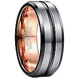 NUNCAD Ring Herren/Damen Wolfram Unisex Ring 8mm Breit Fashion Schmuck Ring für Hochzeit, Verlobung, Größe 52 bis 72