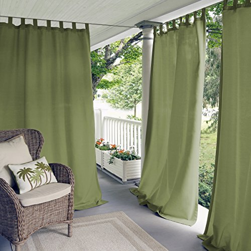 Elrene Home Fashions Indoor/Outdoor Solid UV Protectant Tab Top Single Window Curtain Panel Drape for Patio, Pergola, Porch, Deck, Lanai, and Cabana Matine Green 52u0022x84u0022 (1 Panel)