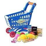 Heall 1 Set de Juguetes educativos Compras niños Mini Carro de Compras con Full Platos para Niños Aprendizaje para el Desarrollo - Accesorios de Juguete Azul de la casa de muñecas