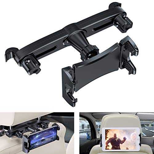 Jubor Car Headrest Tablet Mount, Tablet Headrest Holder for Car Backseat- Universal for Screen Size: 4.7'-11' Devices Such as: Phone, Nintendo Switch, iPad Mini Pro Air, Tablets