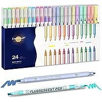 24-Pack EooUooIP Pastel Dual Tip Highlighters Pen