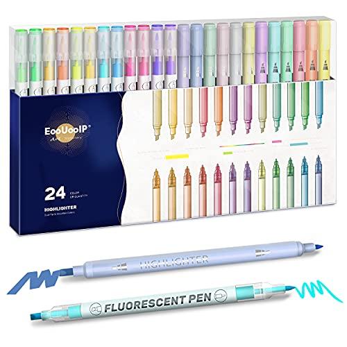 Rotuladores de 24 colores pastel para la Biblia, resaltadores de colores surtidos, con doble punta grande, sin purgar, marcadores fluorescentes para colorear, subrayar, oficina de los estudiantes