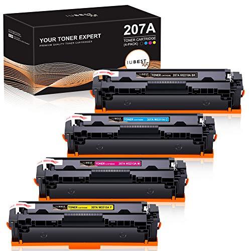 IUBEST Reemplazo de cartucho de tóner compatible para HP 207A 207X W2210A W2210X W2211A W2212A W2213A para usar con impresora HP Color Laserjet Pro M283fdw M255dw M282nw M283fdn MFP M283fdw M283 M255 ⭐