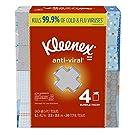 Kleenex Anti-Viral Facial Tissues, 4 Cube Boxes, 60 Tissues per Box (240 Tissues Total)