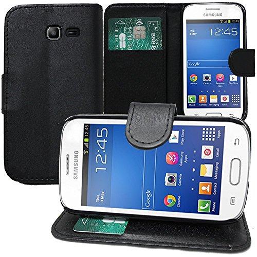 HQ-CLOUD Etui Housse Portefeuille Cuir pour Samsung Galaxy Trend GT-S7560 / Galaxy S Duos S7562 - Noir