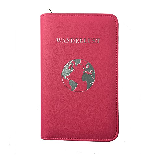 Phone Charging Passport Holder -Multiple Variations with NEW and IMPROVED Removable Power Bank- RFID Blocking - Travel Wallet Compatible with All Phones - Travel Accessories (Fuchsia)