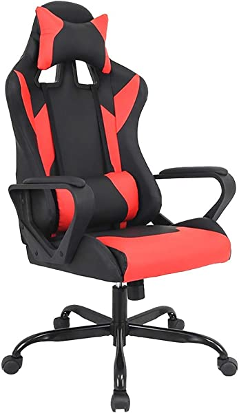 Gaming Chair Racing Chair Office Chair Ergonomic High Back Leather Chair Reclining Computer Desk Chair Executive Swivel Rolling Chair With Adjustable Arms Lumbar Support For Women Men Red