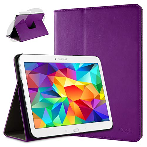 doupi Smart Flip Cover for Samsung Galaxy Tab 2 (10.1 inch), Deluxe Protective Case with Sleep/Wake Function 360 Degree Rotatable Stand Screen Protector, Purple