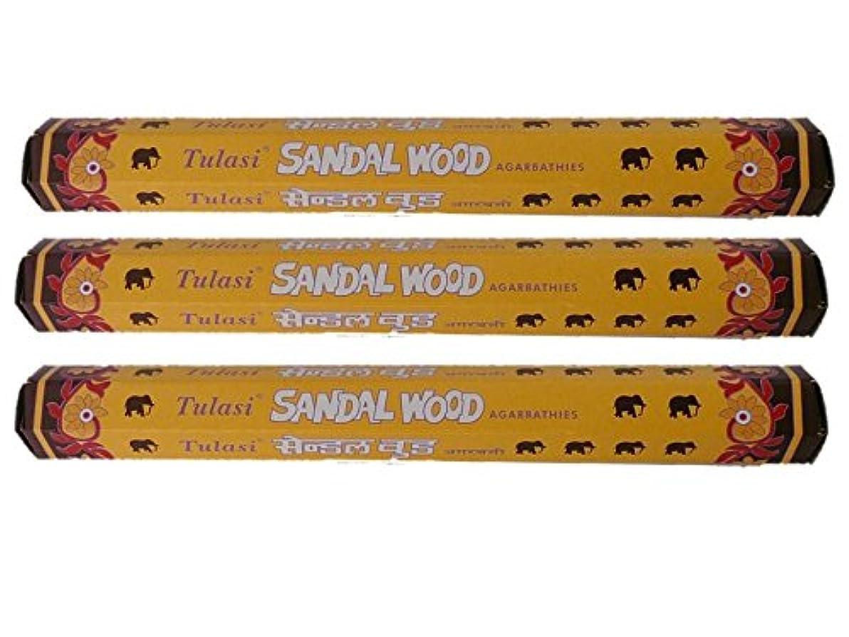 思いやりのある品揃え可動式Tulasi(トゥラシ) お香:サンダルウッド スティックお香/インセンス/六角香/3箱セット