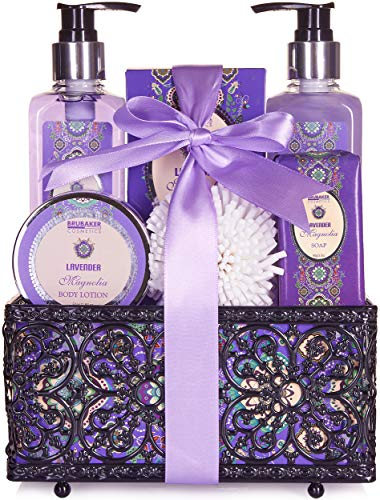 BRUBAKER Cosmetics Home Spa Gift Basket - Lavender & Magnolia Scent - 7 Pcs Luxury Bath & Body Gift Set for Women and Men
