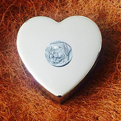Really Useful Gifts Pastillero de Peltre Chapado en Plata con Forma de corazón y Emblema de Perro Labrador Antiguo