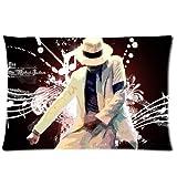 Michael Jackson Memory Rectángulo tamaño estándar con cremallera juego de funda de almohada 20 x 30 a dos lados número A203