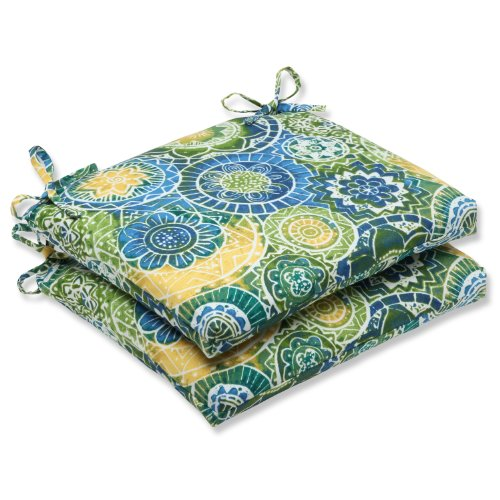 Pillow Perfect Outdoor/Indoor Omnia Lagoon Square Corner Seat Cushions, 18.5 in. L X 16 in. W X 3 in. D, Blue, 2 Pack
