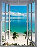 Poster Fenster zum Südsee Strand mit Palmen - Größe 40 x