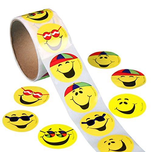 ROSENICE 100 Stück Gelbe Smiley Face Stickers Kinder Belohnung Aufkleber Runde Aufkleber