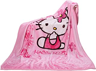 Throw Blanket Fleece Cartoon Hello Kitty Printing 56'' x 40'' Kids Super Plush Soft Warm for Napping, Couch Chair, Living Room (Pink)