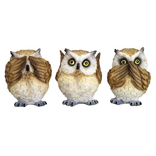 """Bits and Pieces - Drei Kleine Weise Eulen - Kunstharz Skulpturen - """"Nichts hören, nichts sagen, nichts sehen"""" - Haus und Bürodeko - 3er Set Eulen Figuren, Kauz, Uhu"""
