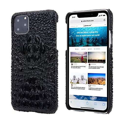 Funda de piel auténtica para iPhone 11 Pro Max, con cabeza de cocodrilo 3D, ultra delgada y ligera, de piel auténtica, antiarañazos, para iPhone 11 Pro Max de 6,5 pulgadas 2019 (iPhone 11 Pro Max)
