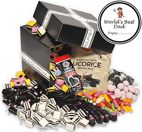 Worlds Best Dad - Retro Liquorice Hamper (Classic Black...