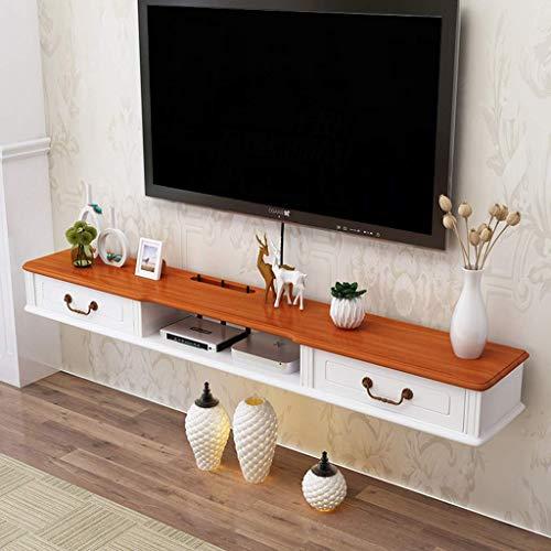 Regal zwevende tv-standaard aan de muur bevestigde tv-console mediaconsole met schuifladen muur audio-videoconsole tv-kast componentenrek voor kabelboxen router afstandsbedieningen dvd-speler spelconsoles 140 x 24 x 16 cm, wit+bruin