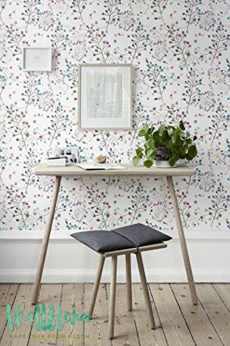 Sans Coutures couleur papier peint Motif fleurs - Papier Peint amovible - Papier Peint Floral - Fleur Sticker Mural Papier peint autocollant - Sticker mural -, 53 Cm wide by 243 Cm Tall
