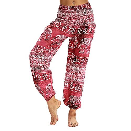 Leggins Mallas Pantalones Deportiva Niña, Pantalones elásticos de la cintura elástica del elefante de las mujeres Pantalones de yoga sueltos BOHO BOHO Harem Hippie Pantalones Bohemian Lounge Pantalone