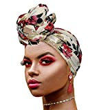 Novarena 30 Solid Colors Soft Stretch Headwraps Headband Long Hair Head Wrap Scarf Turban Tie Jersey Knit African head wraps (Floral Stretch Jersey #3)