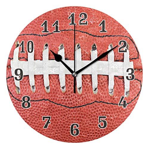 QMIN Wanduhr American Football Spitzen-Muster, runde Uhr, geräuschlos, kein Ticken, leise Uhr für Schlafzimmer, Wohnzimmer, Küche, Büro, Home Decor