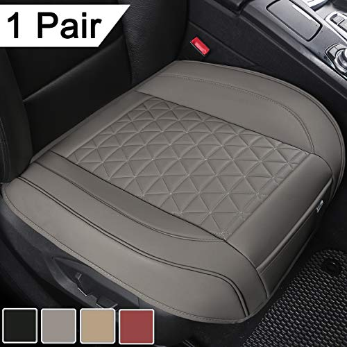 Black Panther 1 Pair Luxury PU Leather Car Seat Covers Protectors for Front Seat Bottoms,Compatible with 90% Vehicles (Sedan SUV Truck Mini Van) - Gray (21.26×20.86 Inches)