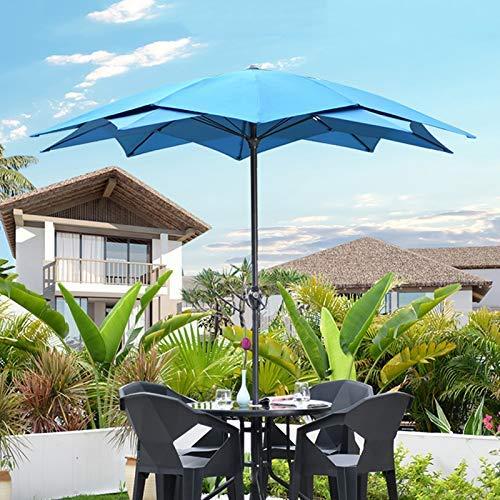 HXCD Paraguas al Aire Libre Sombrilla de Sol al Aire Libre Sombrilla de Dos Pisos para balcón Paraguas de Poste en el jardín del Patio, Longitud Lateral Irregular 2.3m