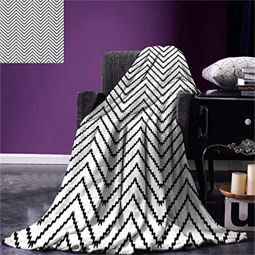 Manta Cálida Manta de Tiro Moderna Formas geométricas de triángulos Zig Zag Líneas de activación Patrón Minimalista Estampado Microfibra cálida 130x150cm