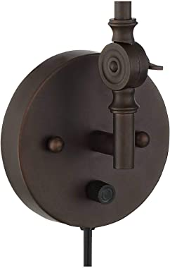 Wray Modern Industrial Adjustable Swing Arm Plug in Wall Lights Set of 2 Lamps Dark Bronze Plug-in Light Fixture Up Down Scon