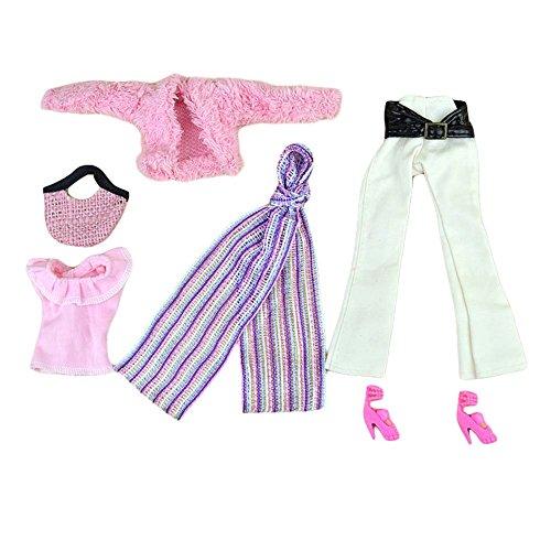 Blancho Elegante Fake Pelzmantel Set - Rosa Puppe Kleidung Puppe Outfits - 6 Stück