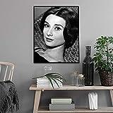 SADHAF Pintura clásica en blanco y negro Impresión en lienzo Audrey Hepburn Cartel Sala de estar Decoración del hogar Pintura Imagen de pared A2 40x50cm