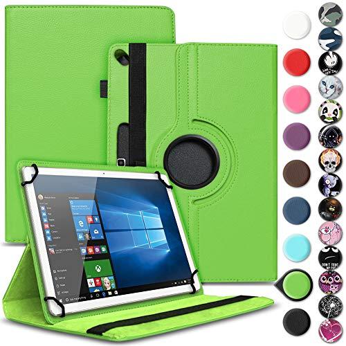 Nauci Tablet Schutz Hülle kompatibel für Archos 101 Oxygen Schutzhülle Kunst-Leder 10.1 Zoll 360° Drehbar Cover Universal Case, Farbe:Grün