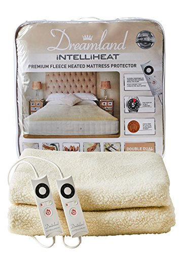Dreamland Intelliheat Fast Heat Up Premium Soft Fleece Mattress Protector Double, Electric Blanket, Size 190 x 137cm, Easy Fit Elasticated Skirt, 2 Controls, 6 Heat Settings & Timer, Extra Foot Warmth
