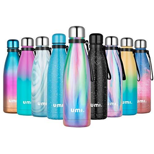 UMI. by Amazon - Borraccia Termica 500ml, Porta Bottiglia Termica Acqua Isolata, Borracce Termiche Alluminio Acciaio Inox, Riutilizzabile Borraccia Sportiva Senza BPA, Pavone