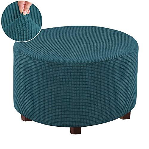 shenglan Funda Sofa Chaise Long Reposapiés Redondo Elástico para Piernas con Revestimiento para Reposapiés-Azul Agua Profundo_Pequeña