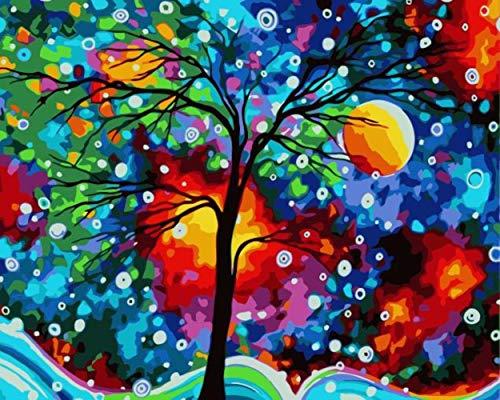 laoniebaozhuang DIY Pintura Al Óleo por Números Árbol De Color Brillante Abstracto Paisaje Lienzo Boda Decoración Arte Imagen Regalo, 50X60 Cm con Marco