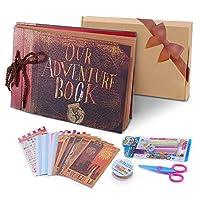 pootack album fotografico fai da te, our adventure book scrapbook diy(19x30cm, 80 pagine) con penne colorate, forbici, fascia decorativa in pizzo, adesivi - regalo di compleanno/laurea/nozze
