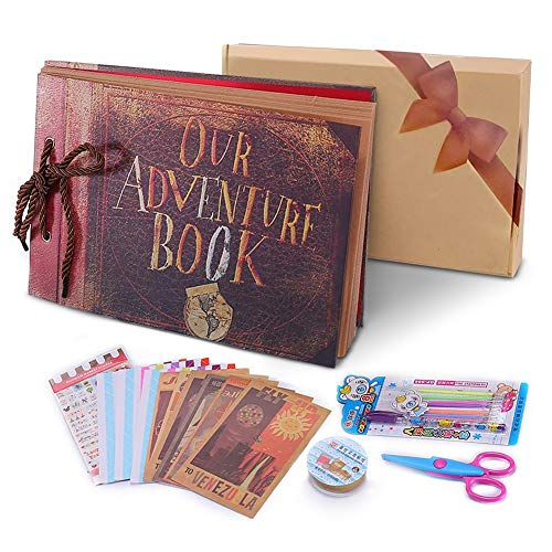 Álbum de Fotos DIY, Pootack Scrapbook (19x30cm, 80 Páginas, 40 Hojas) con un Conjunto de Pluma de Color, Tijeras, Cintas Adhesivas, Pegatinas - Regalo Único para el Cumpleaños/Familia/Niños/Amigos