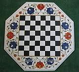 Mesa de café de mármol blanco Octagonal mesa mesa de ajedrez superior para los amantes del ajedrez 21 pulgadas