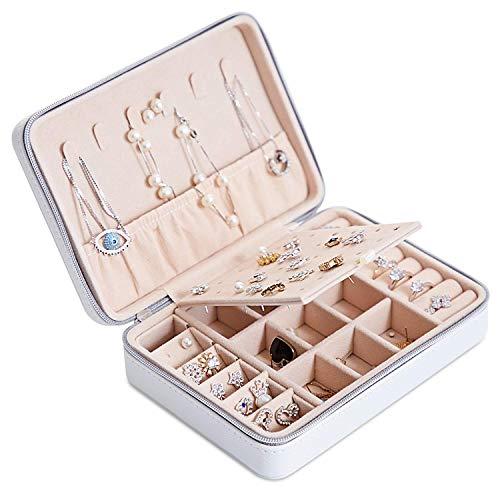Joyero Pequeña, Caja Joyero para Mujer, Caja de Joyas de Cuero, Joyero portátil de Viaje para Mujer, Jewelry Organizer para anillos, pendientes, collares, pulseras (blanco)