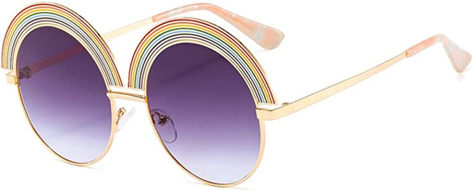 Rainbow Oval Circle Metal Colored Lens Sunglasses