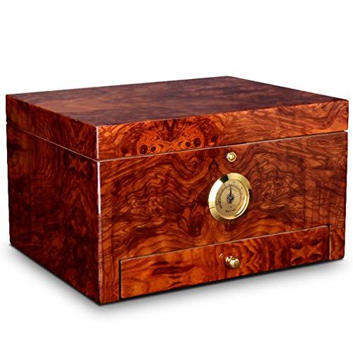 Cigar Humidor Cedar Cigar Desktop Storage Box Cigar Case with Hygrometer & Drawer, Great Gift for Men - Holds 50 Cigars
