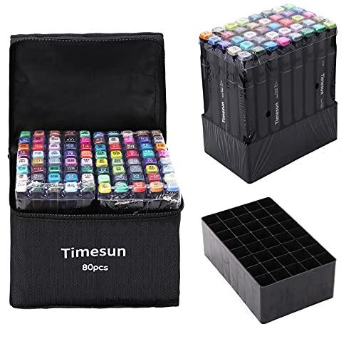 Timesun 80 Farben twin Marker Stifte Set,Fettige Farbstifte auf Wasserbasis, Markierungsstifte mit Doppelter Spitzen, Kunstmarker Graffiti Stift