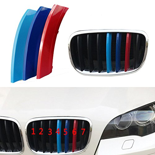 muchkey 3 Farben vor 3D Styling Auto Kühlergrill Einsatz Trim Streifen Motorsport Grill Cover Dekoration Aufkleber für X6 E71 E72 7 Strand