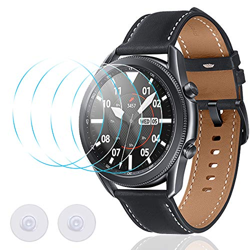 Screen Protection Film for Samsung Galaxy Watch 3 45mm Watch, AFUNTA 4 Pcs Tempered Glass Film Watch Cover No Bubbles Scratch Resistance High Definition High Sensitivity Maximum Coverage